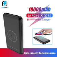 Power Bank 10000mAh Portable 18W Quick Charge QC3.0 PD3.0 10W Qi Wireless Charger Powerbank Fast Charging External Battery Pack|Power Bank|   -