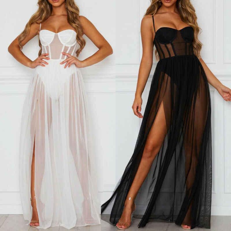 فستان جذاب أنيق للنساء بدون أكمام شفاف أسود/أبيض ضيق مناسب ضيق منقسم فستان طويل للشاطئ والنوادي والحفلات فستان شمسي