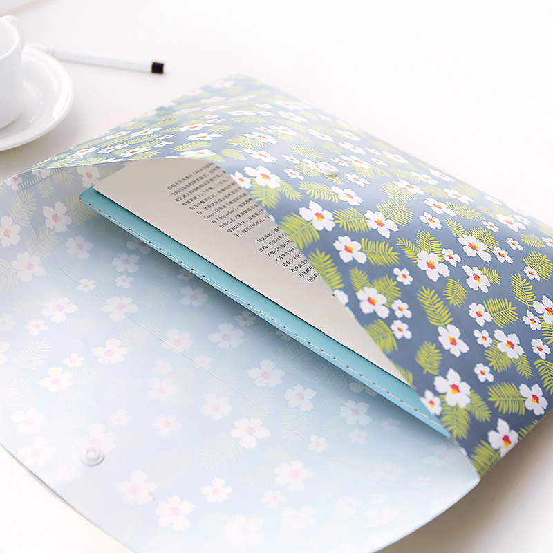 Floral Little Flowers A4 File Folder Document Filing Bag Stationery Bag Carpeta File Bag Paper Document School Office Supplies