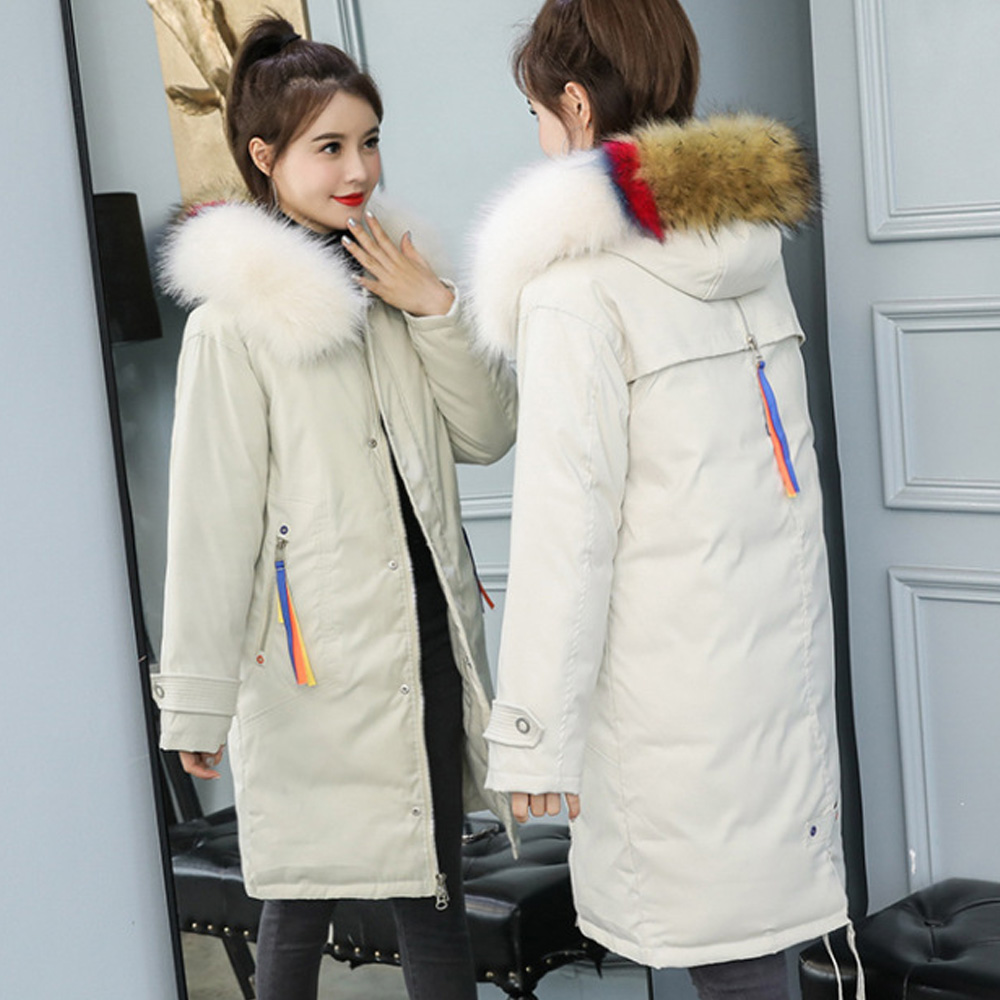 Hot sale Fur Collar   Parka   new coat in Europe and the United States women's big yards long loose down jacket women 1903