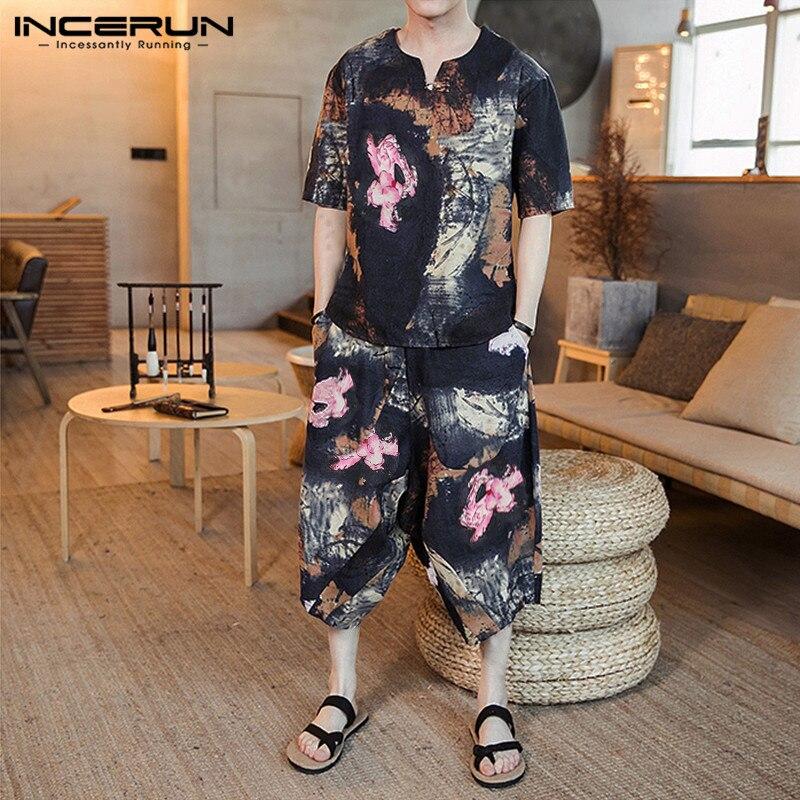 INCERUN Summer Men Chic Print Half Sleeve T-shirt+Calf-length Pants Casual Set Retro Fashion Comfort Baggy Mens Suits Streetwear