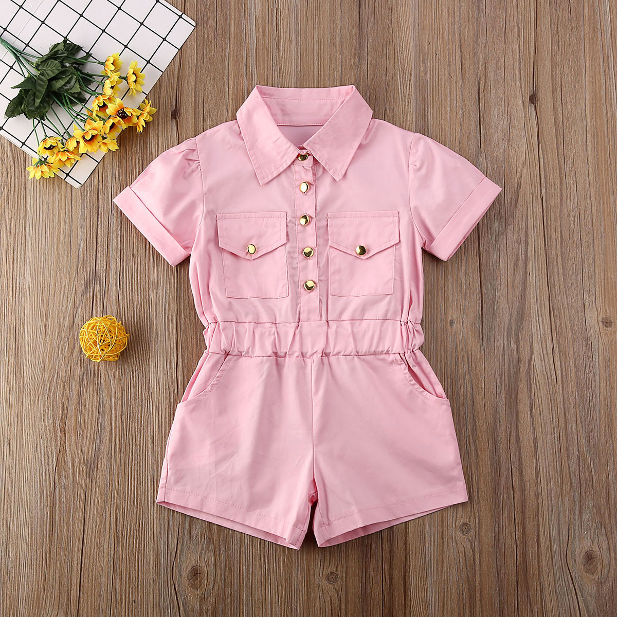 Pudcoco Toddler Baby Girl Clothes Solid Color Short Sleeve Button Romper Jumpsuit One-Piece Outfit Overalls Sunsuit Clothes