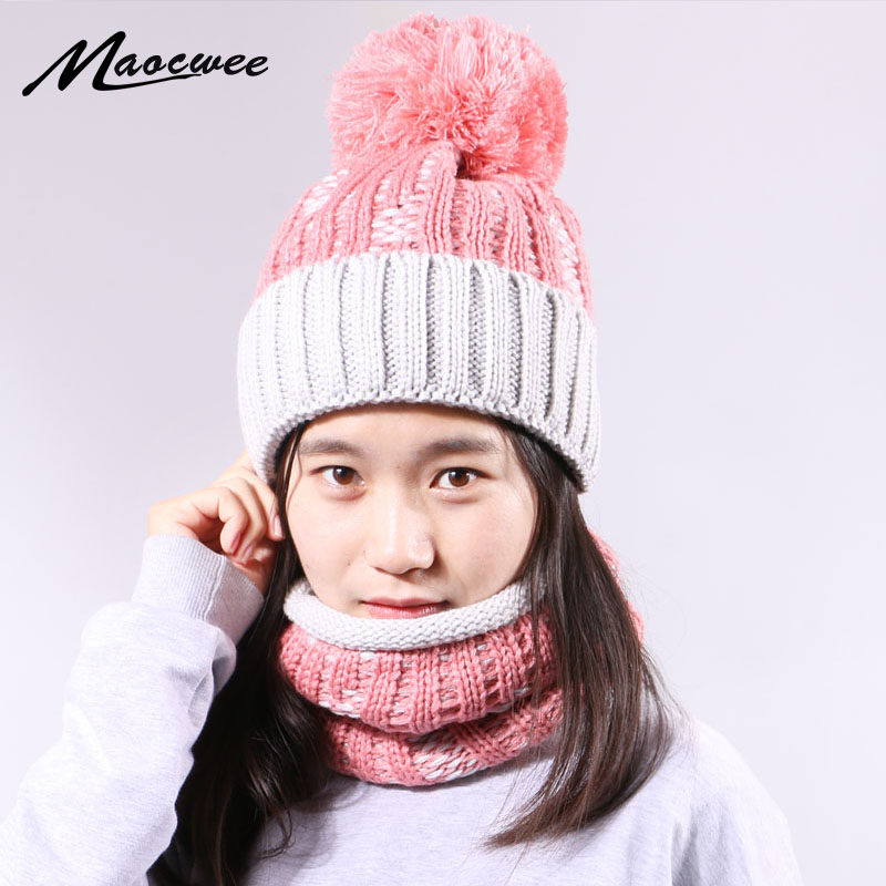High Quality Pom Pom Beanie Hat And Ring Scarf Set For Women Winter Warm Thick Windproof Beanie Hat With Lining Neck Scarf Set