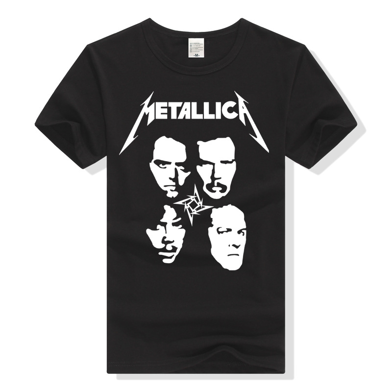 Metallica Europe And America Heavy Metal Band Four-people Combination Skull Streetwear Women's Short Sleeve T-shirt Men And Wome