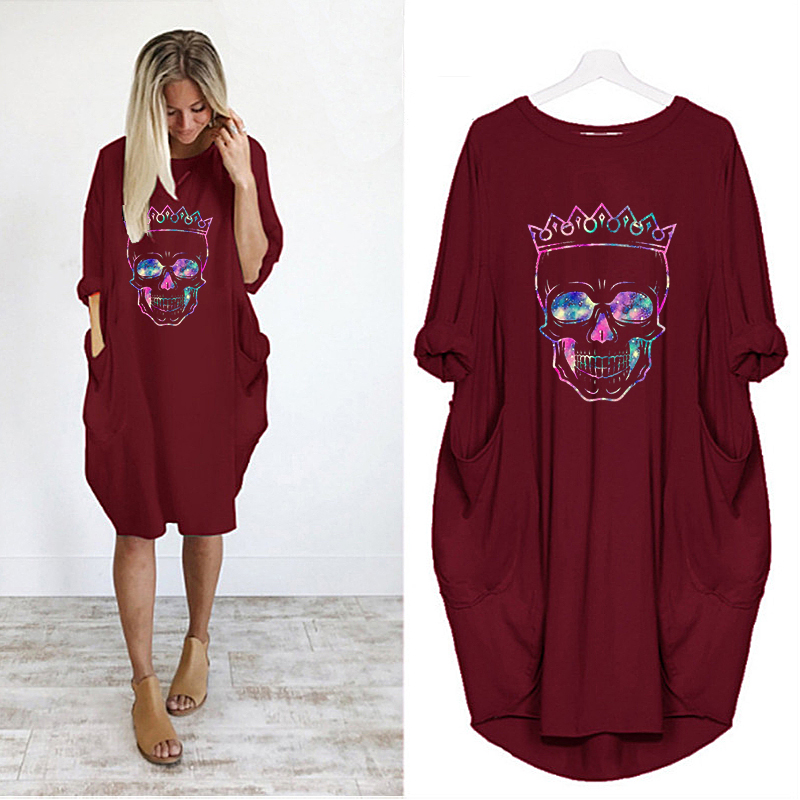 Women Loose Dresses Long Sleeve Dress Plus Size Harajuku Skull Print Casual Robes Femme Vintage o Neck Pocket Party Vestidos 155