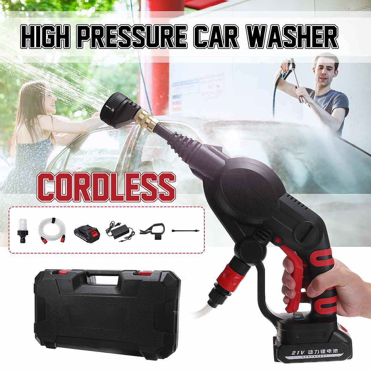 High Pressure Car Washer Rechargeable Accesories Lithium Battery Wireless Auto Spray Water Car Cleaning Guns Handheld Cleaner