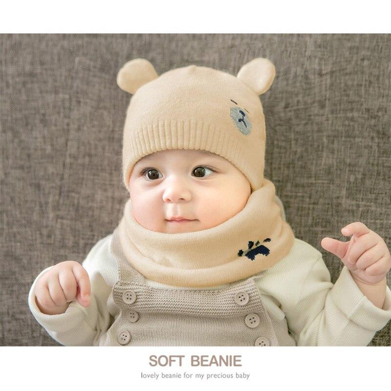 Baby Winter Caps Scarf Suits Warm Knitted Beanie Cap Cute Cartoon Bear Beanie SER88