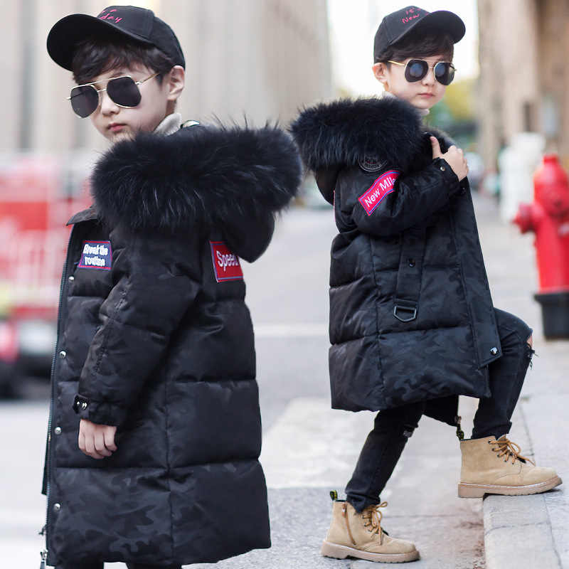 Boys Camouflage Winter Down Jacket For Boys Thick Plus Velvet Warm Big Real Fur Collar Children Boys Winter Coat Parka For Girls