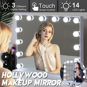 Metal Frame Hollywood Makeup Mirror With 14 Light LED Bulbs Vanity Beauty Dressing Room with Touch Switch Desgin Mirror Leds 1
