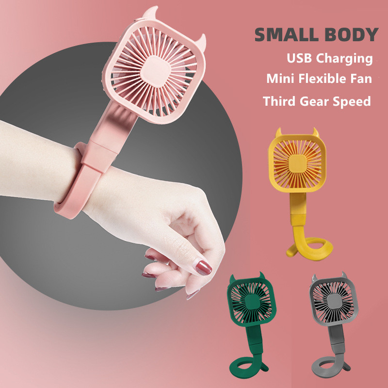 2021New Portable Mini Flexible Fan Handheld USB Rechargeable Cooler Desktop Hanging Winding Baby Stroller Clip Wrist Fans Summer