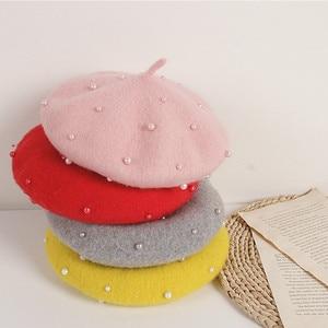 2021 moda nova princesa crianças meninas bonés boinas adorável pérola beanies chapéus primavera outono inverno da criança meninas chapéus