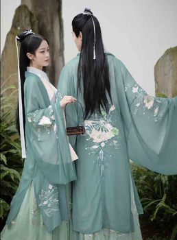 Green Embroidery Hanfu Men&Women Chinese Traditional Adult Cosplay Costume Fancy Dress Hanfu Jacket For Women&Men Plus Size XL hua yang nian hua gorgeous tailed tang embroidery princess hanfu mum daughter sets children s day stage performance hanfu