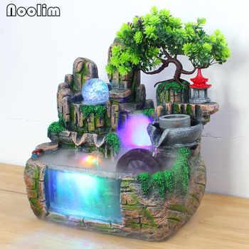 Indoor Rockery Water Fountain Ornaments Bonsai Small Fish Tank Feng Shui Water Wheel Crafts Waterscape Office Home Desktop Decor