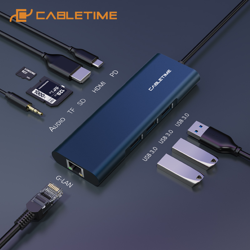 CABLETIME <font><b>USB</b></font> C <font><b>HUB</b></font> Type C to Multi <font><b>USB</b></font> <font><b>3.0</b></font> <font><b>HDMI</b></font> Adapter Dock for MacBook Pro HUAWEI PC <font><b>USB</b></font>-C 3.1 Splitter Port <font><b>USB</b></font> C <font><b>HUB</b></font> C259 image