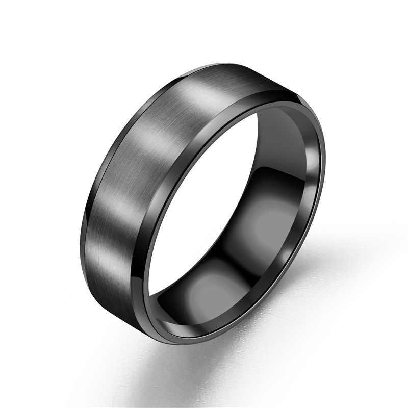 ใหม่ไทเทเนียมแหวนคู่บุคลิกภาพสีดำแหวนคนรักเครื่องประดับหมั้นแหวนหญิงของขวัญ
