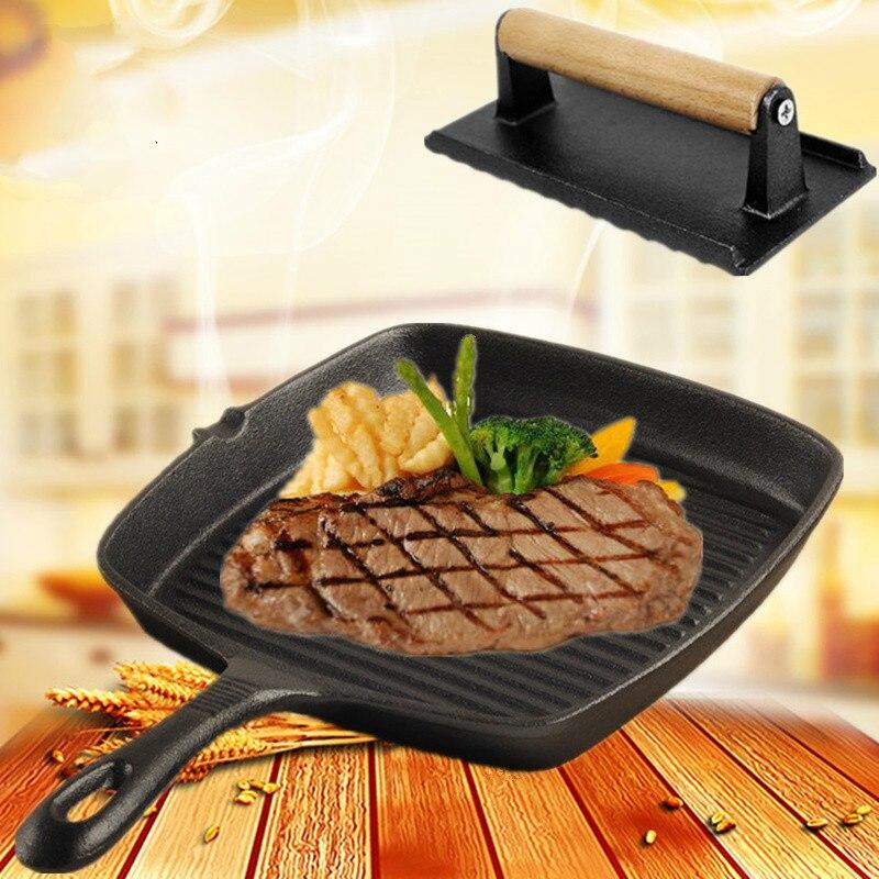 GH 24cm épaissi poêle en fonte ménage Steak poêle cuisinière à gaz avec bande et Non-revêtement poêle antiadhésive
