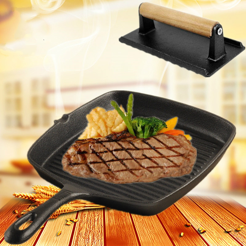 GH  24cm Thickened Cast Iron Pan Household Steak Frying Pot Gas Cooker With Stripe And Non-Coating Non-sticking Pan