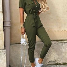 Solid Short Sleeve Bottoned Rompers Women Jumpsuit Casual On