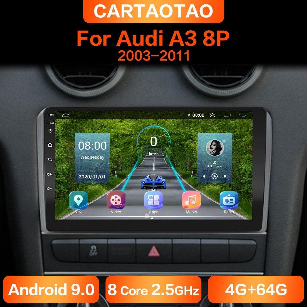 4g + 64g dsp android 9.0 rádio do carro gps rds reprodutor multimídia para audi a3 8p s3 2003 2004 2005-2012 2din android reprodutor de carro sem dvd