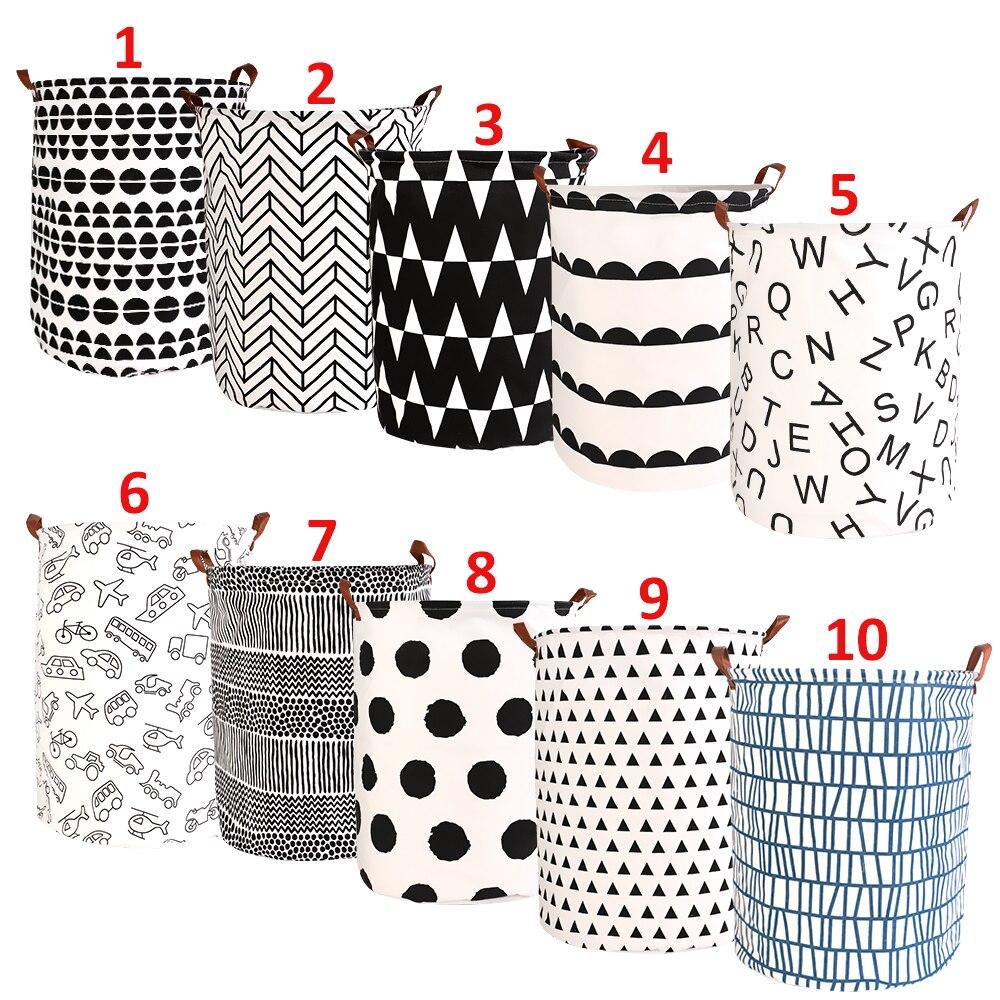 Large Capacity 40x50cm Folding Laundry Basket Round Storage Bin Bag Large Hamper Collapsible Clothes Toy Holder Bucket Organizer