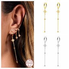 100% 925 argent Sterling mode gland étoile longues boucles d'oreilles goutte boucle d'oreille pour femme dames filles balancent boucle d'oreille Pendientes Brincos