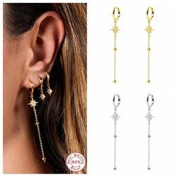 100% 925 Sterling Silver Fashion Tassel Star Long Earrings Drop Earring For Woman Ladies Girls Dangle Earring Pendientes Brincos