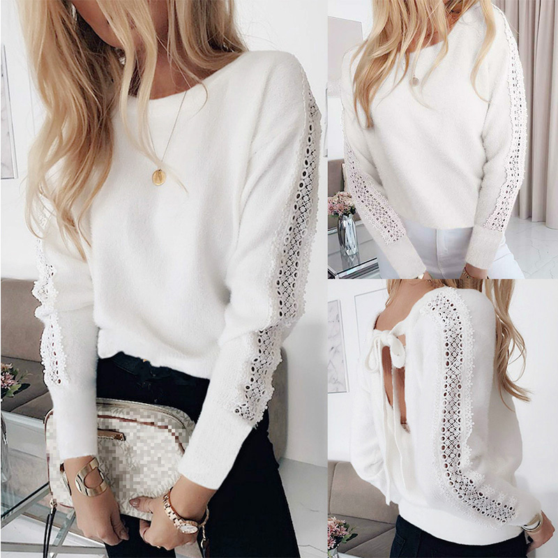 Sexy Solid Color White Bow Bandage Backless Long Sleeve Hollow Out Women Blouse Sexy Tops And Shirt Long Sleeve Women Shirt