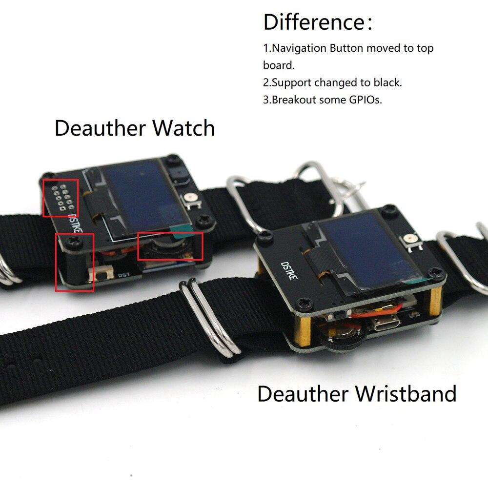 DSTIKE Deauther reloj V1 usable WiFi ESP8266 tablero de desarrollo programable con pantalla OLED de correa de reloj y un interruptor deslizante de 3 vías 125KHz RFID duplicador copiadora escritor programador escritor ID Card Cloner & key