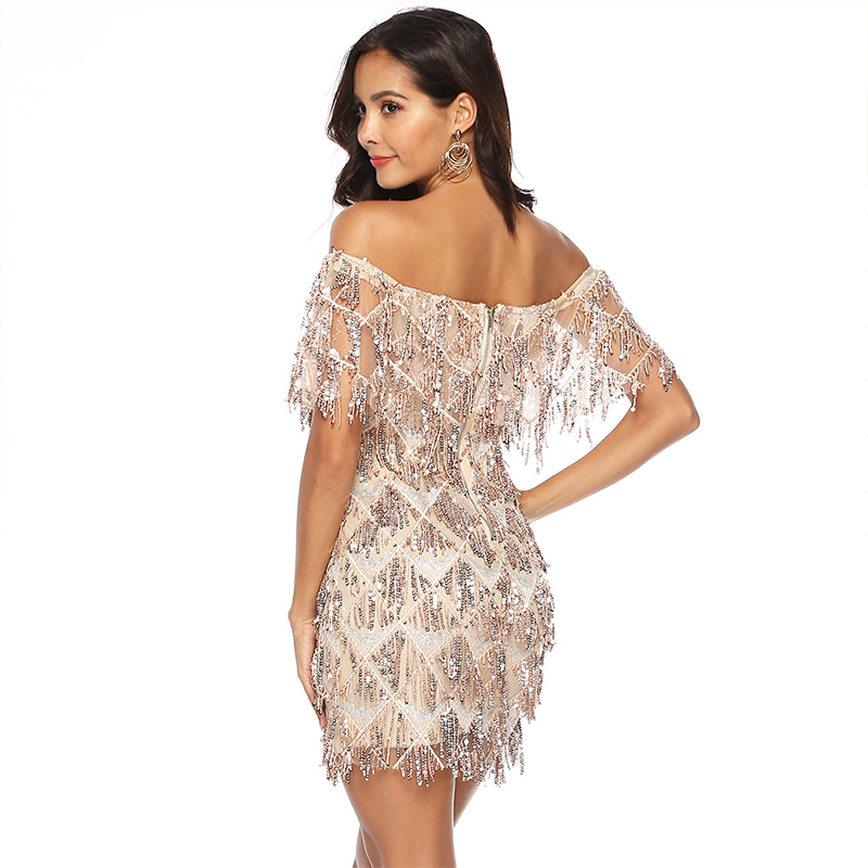 Мини платье с бахромой и блестками, женское платье с коротким рукавом и открытыми плечами, Золотое кружевное платье с кисточками, винтажные