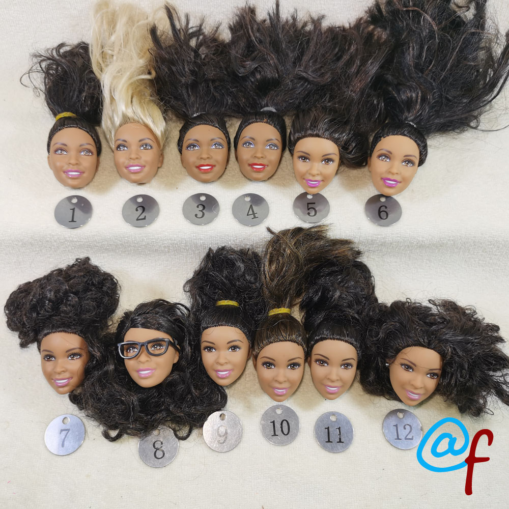 B29-1 Original Foreign Trade Africa Beauty 1/6 OOAK NUDE Rarely Doll Head Mussed Black Or Brown Hair For DIY Soft PVC Head