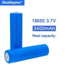 Истинная емкость 100% Новый оригинальный Doublepow 18650 Батарея 3,7 v 3400 мА/ч, 18650 перезаряжаемая литиевая батарея для фонарик батареи