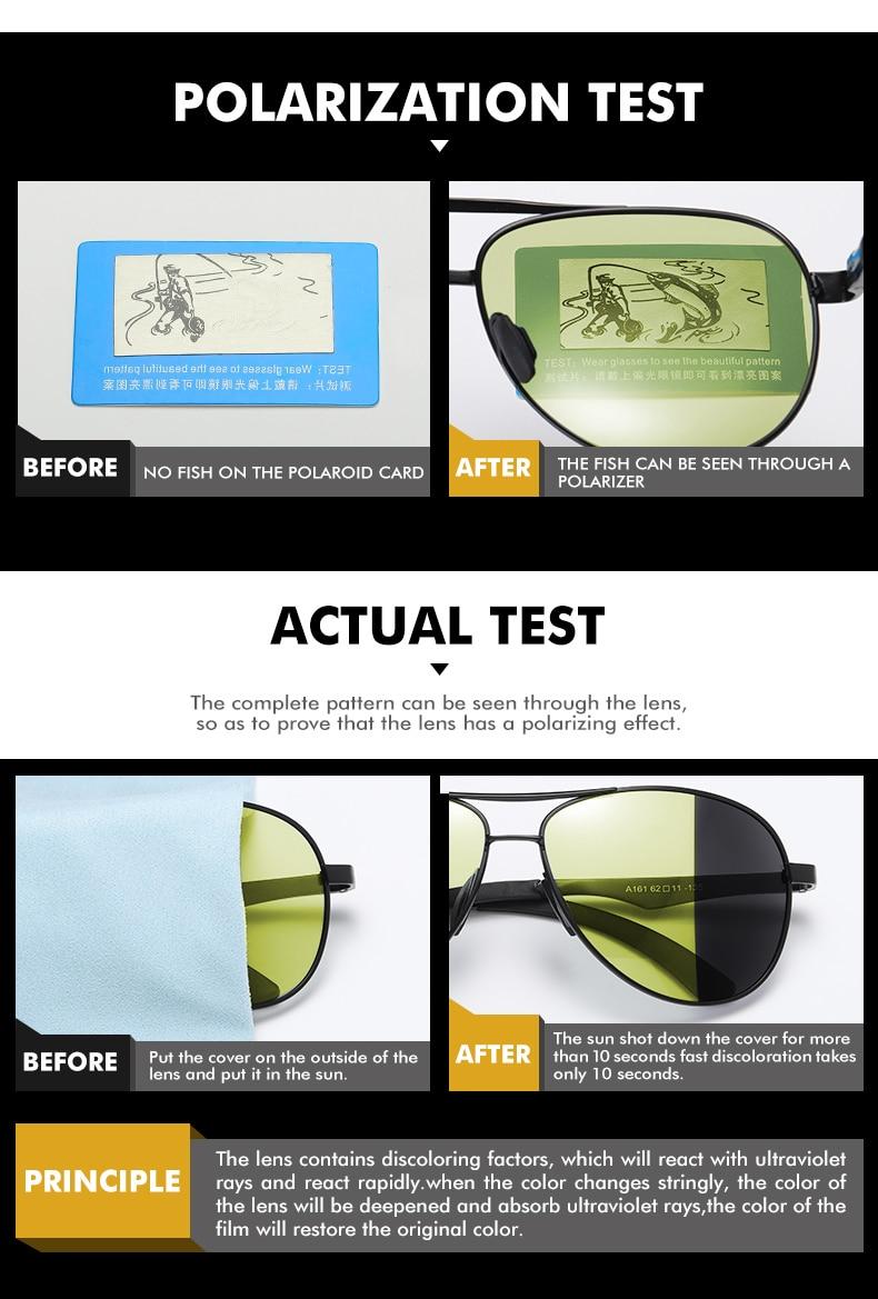H964c6bfb008b49a2b5421b29c95e1a2d4 2020 Aviation Driving Photo chromic Sunglasses Men Polarized Eyewear Glasses Women Day Night Vision
