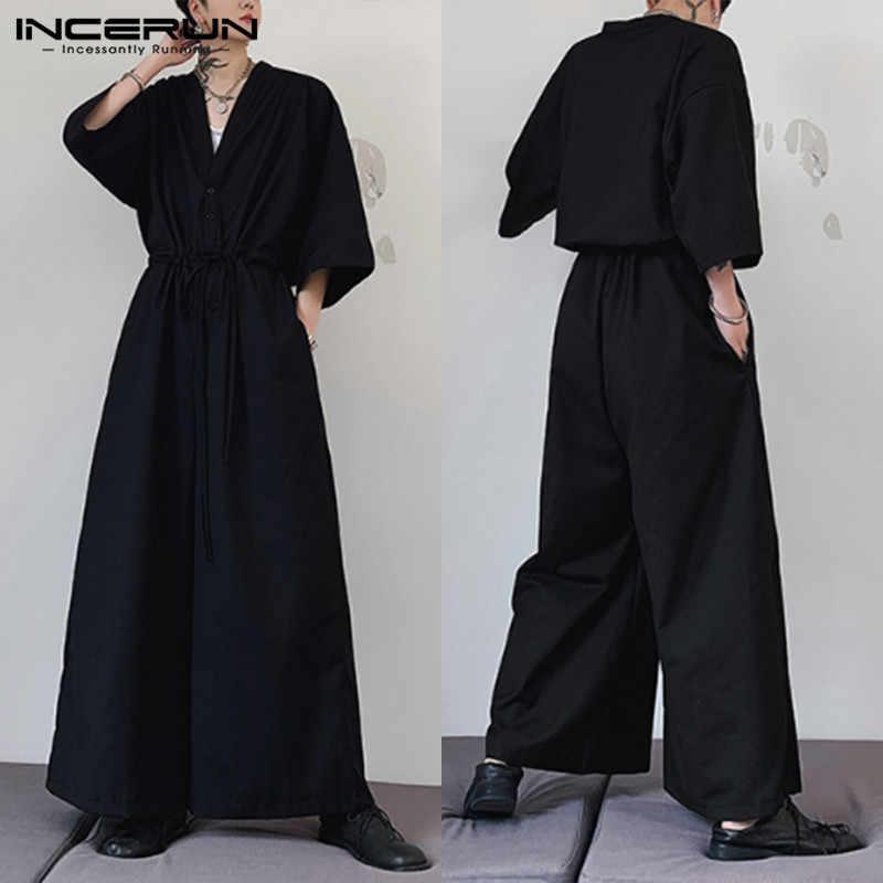 INCERUN moda męska Casual pół rękawa czarne kombinezony luźne jednokolorowe pajacyki bawełniane workowate spodnie haremki Boy Streetwear kombinezon