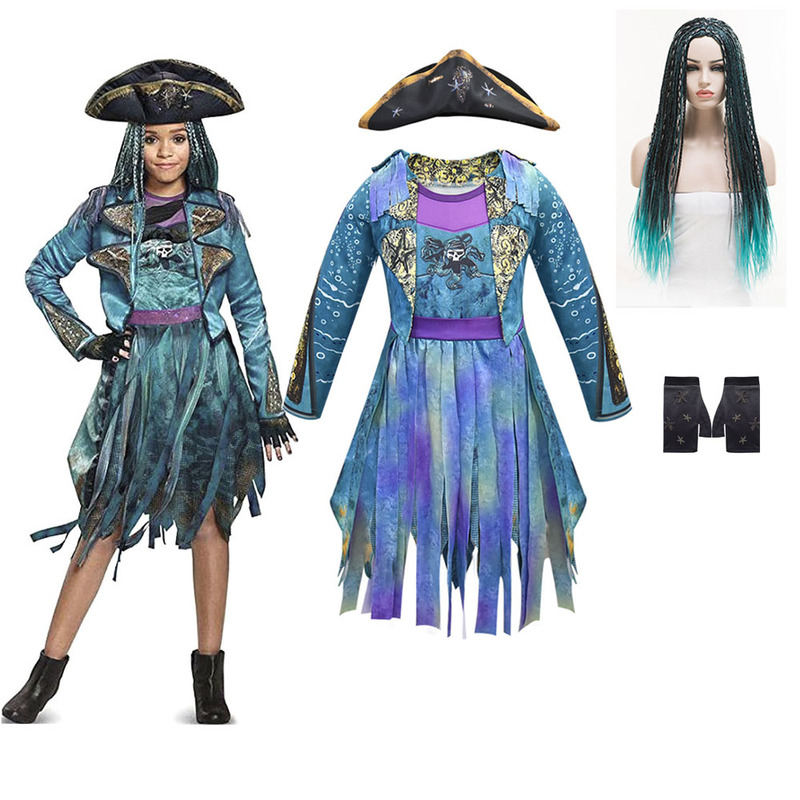 Descendants 3 Mal Bertha Maleficent Curls Live Evil Straight Blue Kids Adult Cosplay Cap + Dress Halloween Costume For Kids Wig