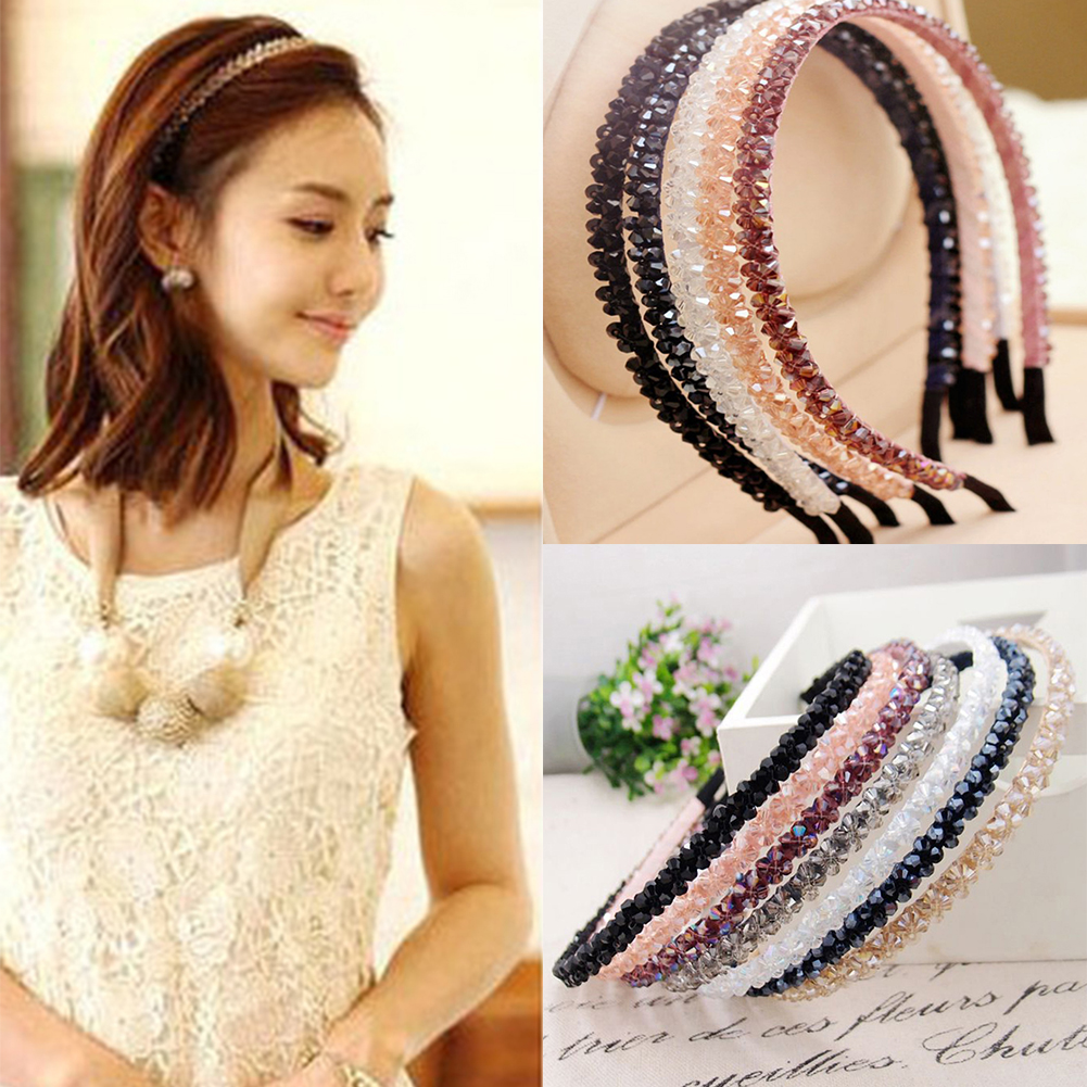 Shinny Crystal Girls Hairbands Diamond Hair Band For Women Rhinestone Headbands Hair Accessories Hairband New Beaded Hair Hoop