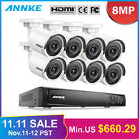 Système de sécurité vidéo réseau Ultra HD POE ANNKE 8CH 4K 8MP H.265 NVR avec caméra IP à Vision nocturne EXIR 8X8 MP 30m