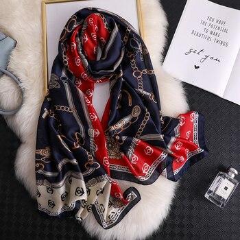 Luxury Brand 2020  Women Scarf Summer Silk Scarves Shawls Lady Wraps Soft Pashmina Female Echarpe Designer Beach Stole Bandanna - discount item  29% OFF Scarves & Wraps