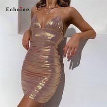 купить Echoine Nightclub Bodycon Dress Women Sexy Spaghetti Straps Ruched Bright Midi Slim Party Vestidos Low Cut Charm Female Costume дешево