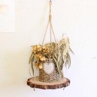 Retro chip de madeira decoração rack com corda de madeira pendurado prateleira de parede para decoração de casa prateleira de armazenamento para planta