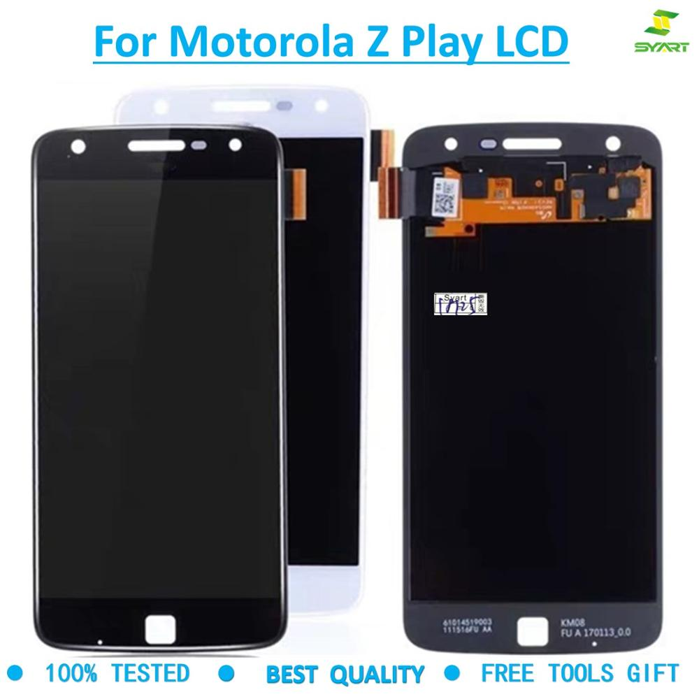 100% lcd For Motorola Moto Z Play LCD Cellphone Touch Screen Panel Digitizer Assembly For <font><b>XT1635</b></font> Screen Black White +tool image