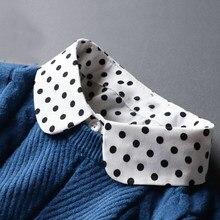 Faux Col Vintage blanc imprimé à pois, femme, Col détachable, femme, demi-chemise Dickie amovible