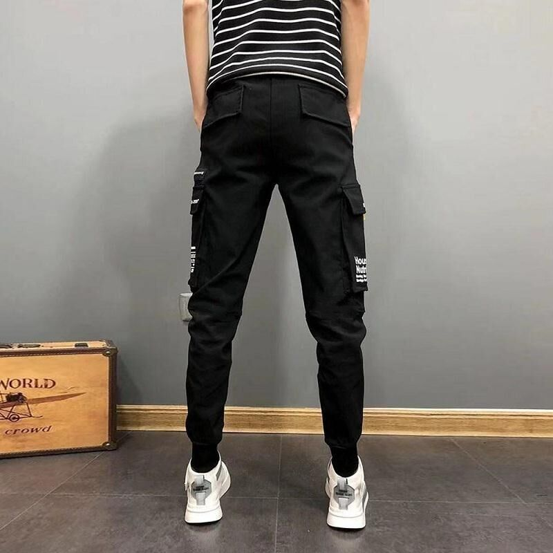 MAZEROUT Streetwear Hip Hop Black Harem Men Elastic Waist Punk Pants With Ribbons Casual Slim Jogger Pants Men Hip Hop Trousers