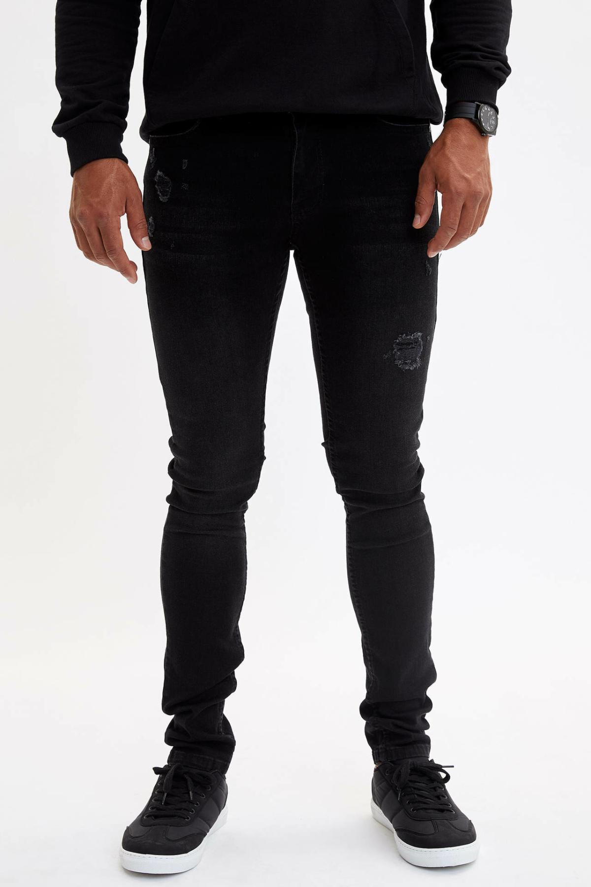 DeFacto Fashion Men's Simple Black Stretch Jeans Men Elastic Denim Pants Slim Trousers New Menswear New -L6713AZ19AU