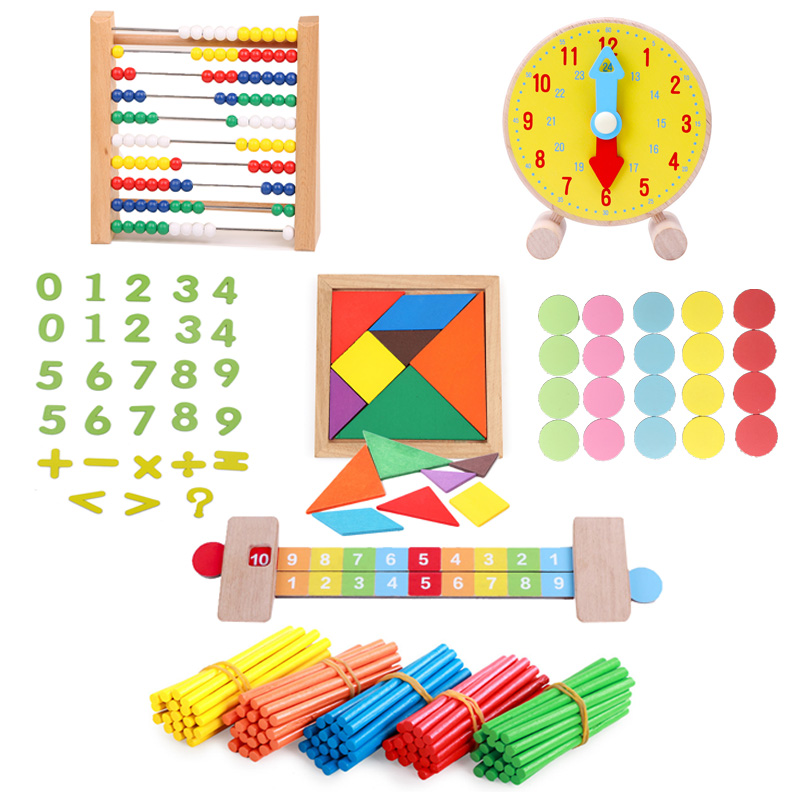 Preschool Baby Toy Wooden Maty Toy Set Clock Abacus Tangram Math Ruler Baby Lerarning Educatioanl Wooden Toy Tool Set For Kids