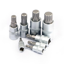 8 pc/set de aço inoxidável torx bit socekt m4/m5/m6/m8/m10/m12/m14/m16 com slot para cartão de ferro para chave de soquete de catraca