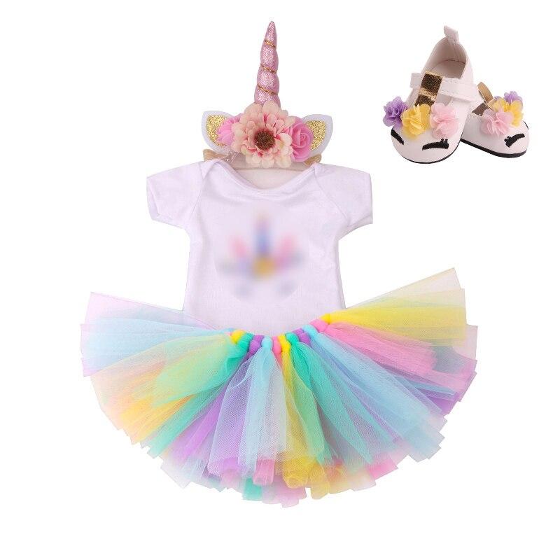 18 pouces filles poupée robe licorne costume dentelle jupe avec chaussures américain nouveau-né vêtements bébé jouets fit 43 cm bébé poupées c179