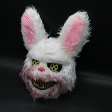 2019 Killer Rabbit Mask New Halloween Bloody Masquerade Scary Headgear Plush Cosplay Horror For Kids Adults