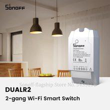 Itead sonoff interruptor wifi sem fio duplo, 2 gang switch módulo de relé diy controle remoto interruptor wifi 220v funciona com alexa google home