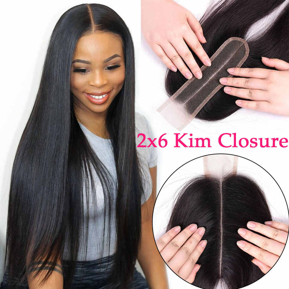 Kim K 2x6 Lace Closure Brazilian Body Wave Closure Middle Part Straight Lace Closure Remy Human Hair Closure For Black Women