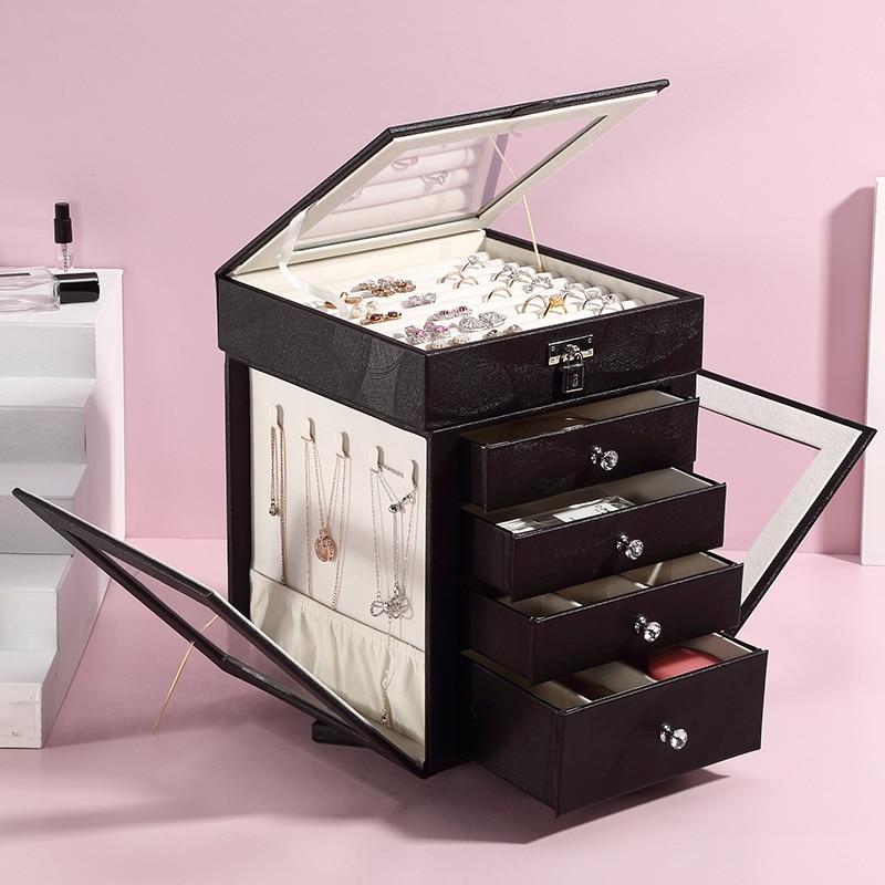 PU Leather Jewelry Box Storage Box  Necklaces Joyeros Makeup Lipstick Organizers Stud Stuff Travel Ring Display Lady Case Displa